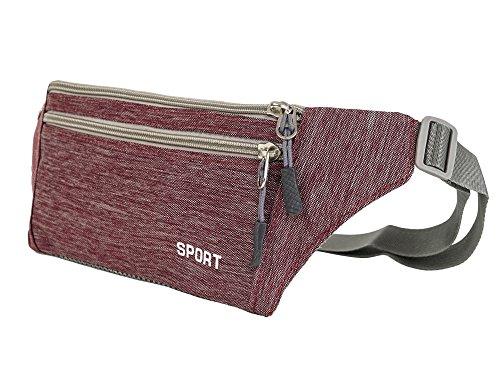 CloSoul Direct Damen Herren Hüfttasche Multi-Function Gürteltasche Bauchtasche mit kopfhörerloch einfach Rot