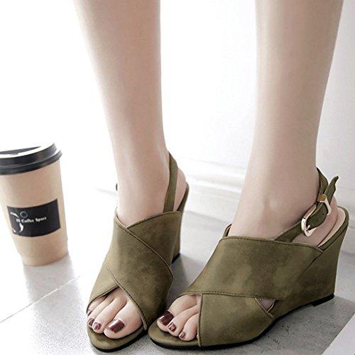 COOLCEPT Femmes Mode Orteil ouvert Slingback Sandales Talons hauts Talons compenses Chaussures Vert