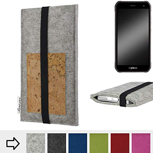 flat.design für Cyrus CS 40 Handyhülle Case Sintra mit Kartenfach (Natur) und Gummiband-Verschluss (schwarz) - passgenaue Smartphone Tasche Schutz Hülle aus 100% Wollfilz (hellgrau) für Cyrus CS 40