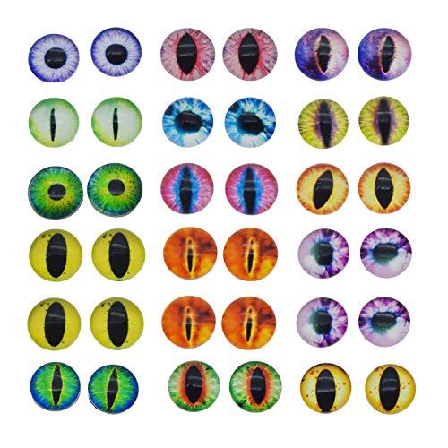 Cabochon/Kamee für Schmuckstücke, 25 mm, rund, Glas, Drache, Katzenauge, 100 Stück