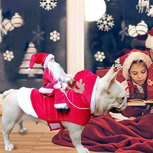 Chengstore Weihnachtsmann-Hundekostüm Weihnachten, Weihnachtsmann-Reithirsch-Hunde Kleiden Oben Weihnachtskostüm, Für Hund Haustierbekleidung Chihuahua Yorkshire Pudel S/M/L
