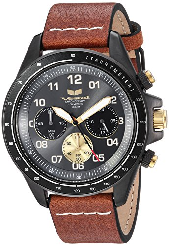 Vestal 'ZR2' Quartz Stainless Steel and Leather Casual Watch, Color:Brown (Model: ZR243L27.LBWH)
