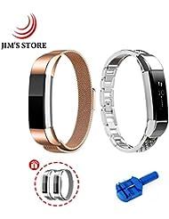 Für Fitbit Alta, JIM'S STORE Packung von 2 Edelstahl Milanese Ersatz Magnet Wristband & Metall Schmuck Armreif mit Strass