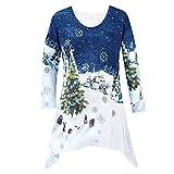 VEMOW Heißer Elegante Damen Plus Size Oberteile Winter Festliche Wasserfall Weihnachten Unregelmäßige Lässige Tägliche Party Lose Hem Bluse Top(X3-Blau, EU-46/CN-XL)