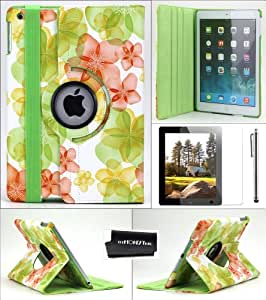 TheHonestBill PU Leather 360 Degree Rotating Case Cover for Apple iPad Air/ iPad 5 + Screen Protector Film + Stylus Pen + Microfiber Cleaning Cloth [in Retail Packaging] (Green Pink Flower)