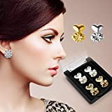 #6: Carecroft Earring lifter lobe lifts back Metal Ear ring patches support hypoallergenic adjustable (2 Pairs - Gold & Silver plated)