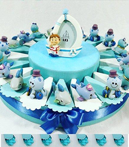 Bomboniere comunione battesimo cresima con torta bomboniera spedizione gratis kkk (torta 20 fette animaletti marini)