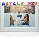 Cornici per foto in legno con la scritta Natale 2016, da appoggiare o appendere, misura 13x18 cm Bianca. Ideale per la famiglia o per regalo.