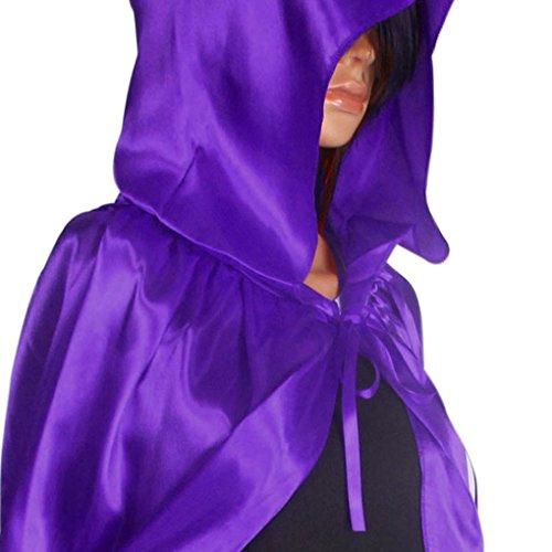 Halloween ChâLe,OverDose Manteau De Manteau à Capuchon Wicca Robe MédiéVale Cape Partie Violet