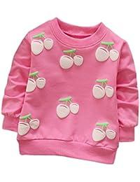 Camiseta de manga larga de cereza con mangas largas para niñas Ropa de abrigo