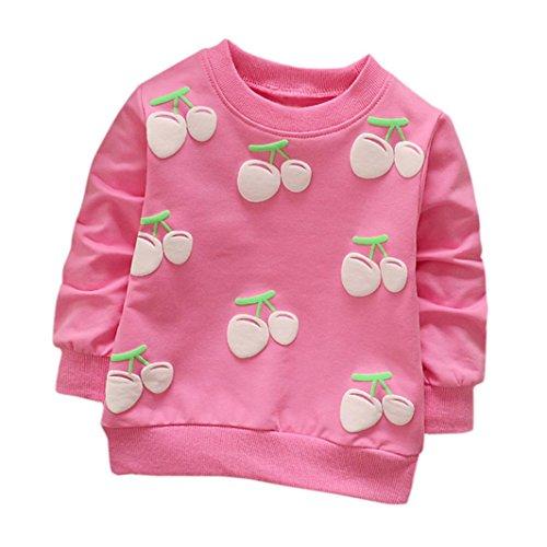 Camiseta de manga larga de cereza con mangas largas para niñas Ropa de abrigo (24 Meses, Rosa caliente)