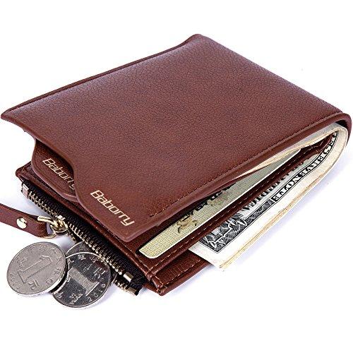 Baborry-Rfid Blockierung Herren Designer Brieftasche Mit Reißverschluss Münztasche Movable ID Karte Halter Kaffee