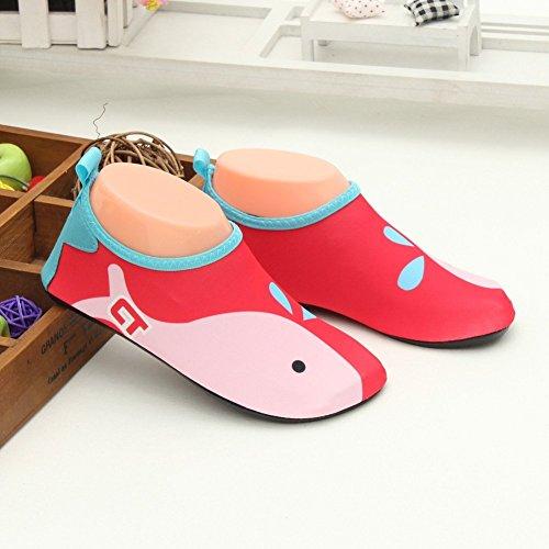 Eagsouni® Badeschuhe/ Wasserschuhe/ Aquaschuhe/ Schwimmschuhe Weiche Rutschfest Schuhe für Damen Herren Kinder Baby #9Rot