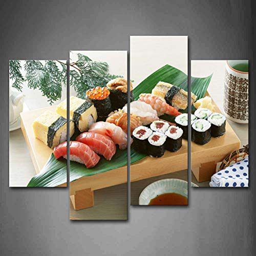 HOMEDCR Wandbilder 4 Platten rahmenlose Wandkunst Bilder Sushi Fisch Fleisch Blatt Leinwanddruck Lebensmittel Poster rahmenlose Für Wohnzimmer Dekor