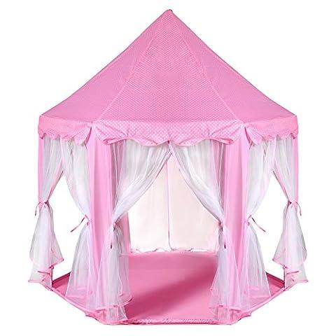 Enfants Princesse Pop Up Chateau - ODOLAND Tente de Jeu + lecture grande pour usage intérieur & extérieur - Rose Maison de Jardin anti- moustique - cadeau parfait pour enfants avec étui de