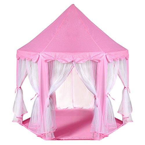 Castillo de la princesa Tent - ODOLAND grandes niños espacio de juego para los niños Carpa interior y exterior Rosa Playhouse - regalo perfecto para los niños con estuche de transporte