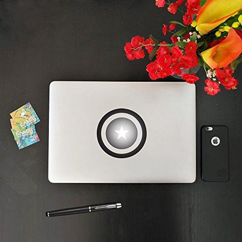 kamiustore Aufkleber für MacBook Notebook Notebook Laptop Modell Captain America Sticker Vinyl vorgepresst Schwarz -