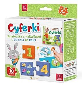 Cyferki Ksiazeczka z naklejkami i puzzle do pary