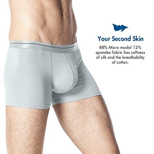 Lapasa Herren Boxershorts, 4er Pack Men's Underwear, Micro Modal - seidenweich, Herren Unterhosen, Herren Retroshorts, M002 Grau