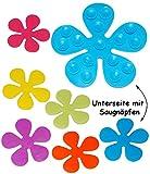 alles-meine.de GmbH 18 tlg. Set - Badewanneneinlage / Sticker mit Noppen -  Bunte Blumen  - Anti..