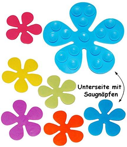 """6 tlg. Set - Badewanneneinlage / Sticker mit Noppen - """" bunte Blumen """" - Anti Rutsch Pad - Aufkleber aus Silikon - Einlage z.B. für Dusche / Badewanne - rutschfest Saugnäpfe - Badezimmer Bad - Sicherheit - Antirutschmatte - für Kinder & Erwachsene - kein Ausrutschen - Badewannenmatte - Wanneneinlage - antirutsch / kein Ausrutschen - Duschmatte / Badematte"""