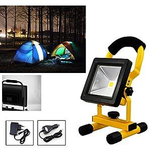 HG® 10W Batería de LED blanco frío Luces de trabajo iluminadas con luz solar Sitelamp Handlamp Campinglamp Proyectores exteriores recargables
