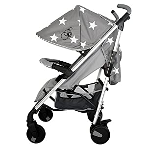 My Babiie Billie Faiers MB51 Grey Stars Stroller Bambino World Ideal pram for parents of twins or children with small difference in age.Thus you remain mobile also with 2 babies or infants. Main features: Very compact and light ; Adjustable backrest ; Foot rests adjustable ; Easy folding . 100% safety for your child : 5-point safety harness ; Brake on rear wheels ; Lockable swivel front wheels ; Complies with strict European norms . 11