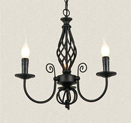 HYTFYRH 110-240V E14, 3-Licht Vintage Kerze-Kronleuchter und geriebene Matte schwarz Eisen Arm Finish, (Durchmesser 46cm, hohe 43cm) (Licht-kerzen-kronleuchter Drei)