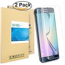 Galaxy S6 edge de Pantalla[3D completo borde curvado], PULESEN® Protector de pantalla para Samsung Galaxy S6 Edge [borde a borde] y [2-PACK] extrema claridad invisible protección.