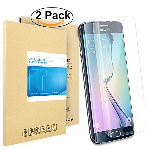 Galaxy S6 Edge Schutzfolie, Pulesen® [2-Pack] Samsung Galaxy S6 Edge Folie [HD Klare, 99% Transparenz] Schutzfolie für S6 Edge displayschutzfolie, Screen Protector