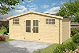 Gartenhaus G129 - 28 mm Blockbohlenhaus, Grundfläche: 14,02 m², Satteldach