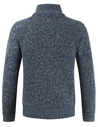 Pinkpum Homme Cardigan Veste en Maille Ouvrez-Front Zippé Gilet Automne Hiver Poche Gilet Veste en Maille Homme Col Droit Bleu foncé XL