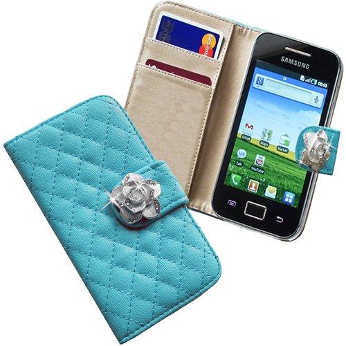 Xtra-funky esclusivo faux della custodia del cuoio di vibrazione con raccoglitore della borsa di stile con incorporato rosa del cristallo sulla cinghia di chiusura magnetica per samsung galaxy s2 ( i9100 ) - blu