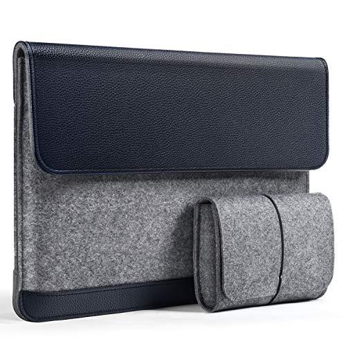 HOMIEE Bolso para Laptop Fieltro y Bolsa de Cuero PU, Estuche Protector para MacBook Pro/Acer/DELL/Lenovo/HP/Chromebook Maletín Portátil para Negocios Ultra Delgado de 15.6 Pulgadas Azul