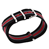 #10: Rashi E-Commerce Durable Nylon Watch Band Strap 22mm Black Gray Red