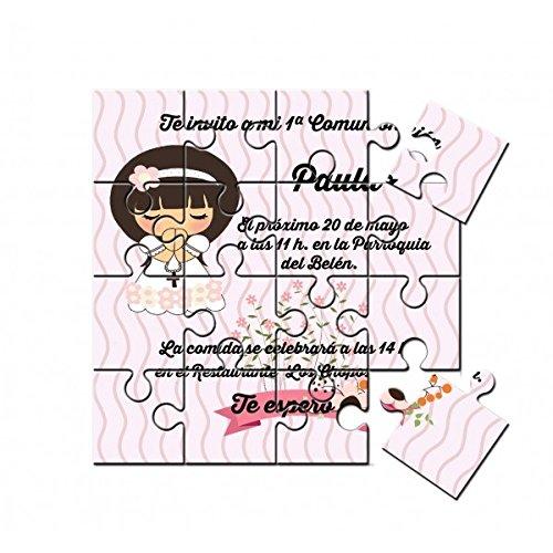 Invitación de Comunión niña muñeca en puzzle en lata con ...