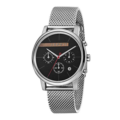 ESPRIT ES1G040 M0045 Vision Black Mesh Men's Chronograph Watch – Stainless Steel, Stainless Steel 3 Analog Chrono Date Silver