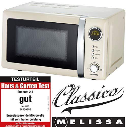 Melissa 16330108 Classico Mikrowelle Mikrowellenofen Retro-Design Metall-Gehäuse, 20 Liter Garraum, 700 Watt Mikrowellenleistung, Timer, 5 Leistungsstufen, Creme