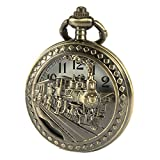 SIBOSUN Antik Manner Taschenuhr Mit Kette Bronze-Fall 3D Lokomotive Dampf Zug Eisenbahn Hohl + Box