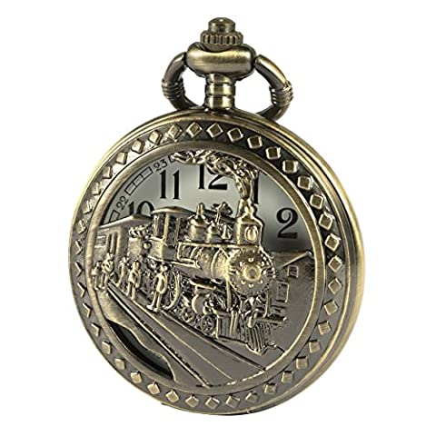 SIBOSUN Bronze 3D Steam Train Design Half Hunter Pocket Watch With Chain Quartz Movement For Men Women