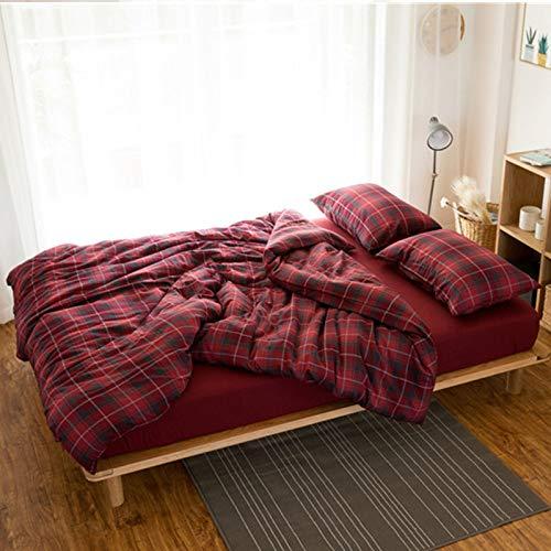 GFLD Bettwäsche Sets Einfache Baumwolle Flanell Gitter Bettwäsche Vier Stücke Set Blatt Steppdecke Bettdecke -