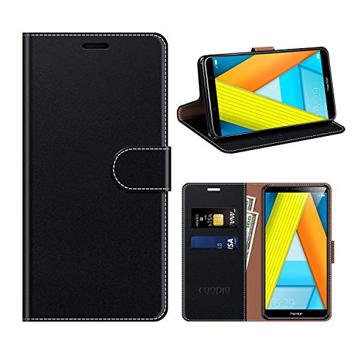 COODIO Honor 7A Hülle Leder, Huawei Y6 2018 Kapphülle Tasche Leder Flip Cover Schutzhülle Rugged für Honor 7A / Huawei Y6 2018 Handyhülle, Schwarz