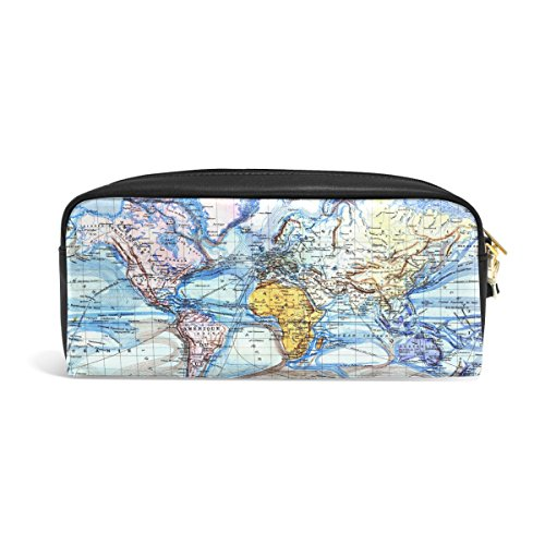 zzkko Aquarell Weltkarte Leder Reißverschluss Bleistift Schutzhülle Pen Stationäre Bag Kosmetik Make-up Bag Tasche Geldbörse (Weltkarte Stationären)