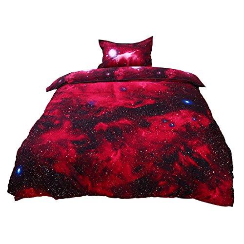 sourcing map 3D Bedruckt Galaxy Sky Kosmos Nacht Muster Bettbezug Set Bettdecke hülle Kissenbezug Set Einzeln/Queen Größe - Rot, Single Size -
