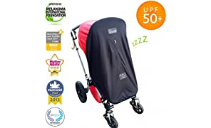 SnoozeShade Original | Universal fit pram and buggy sun shade | Blocks 99% UV | Blackout blind for pushchairs/bassinets/strollers | Limited Edition steel grey trim