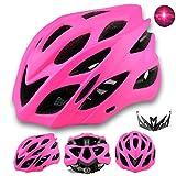 Damen Herren Fahrradhelm mit integriertes LED-Rücklicht und Sonnenblende, Matt Specialized Rennradhelm mit Insektenschutz, MTB fahrrad helm integral mit 22 Belüftungskanäle gr 57-62 Neon Pink Matt