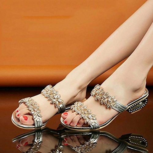 DM&Y 2017 versione coreana di primavera ed estate sandali di strass moda open toe con il quadrato in metallo con le grandi pantofole donne di formato Gold