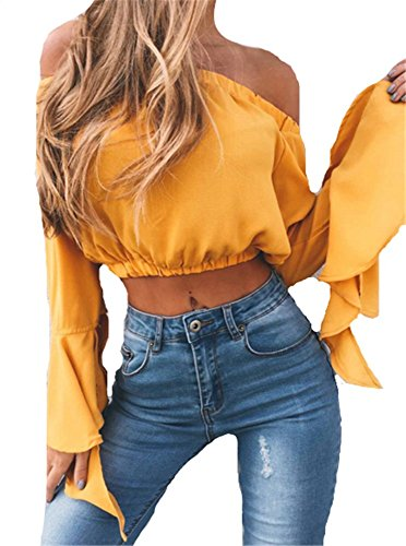 YOGLY Femme Haut Court Col Bateau Sexy Nu Dos Épaule Manches Longues Évasé Mode t-Shirt Casual Chic Top Jaune