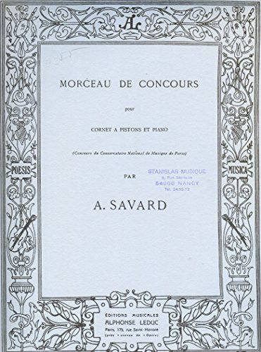 Morceau de concours pour cornet à piston et piano. Editions musicales Alphonse Leduc. Vers 1960. (Partition, Musique, Cornet à piston, Piano)