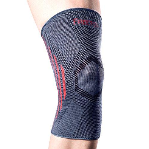 [Kniebandage sport] FREETOO Kniestrümpfe elastische und nahtlose kniestütze power knee sleeve für Damen und Herren auf Joggen Radsport und Ballsport anwenden, L
